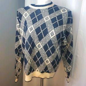 BLUE & WHITE knit plaid sweater retro vintage